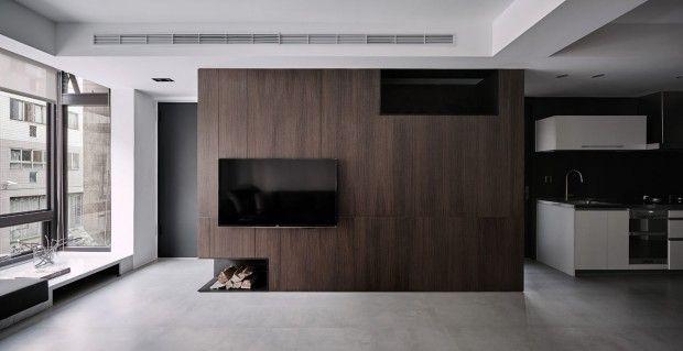Z-Axis Design a rénové cet appartement de 122 m2 à Taichung, Taïwan qui était vieux et vétuste. Le projet impliquait un nouvel agencement et un schéma simp
