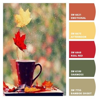 The colors of fall and the interior of my house :)   Paint colors from Chip It! by Sherwin-Williams