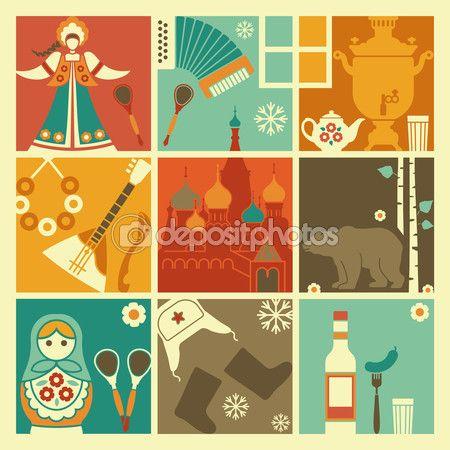 Традиционные символы России — Stock Illustration #61182557
