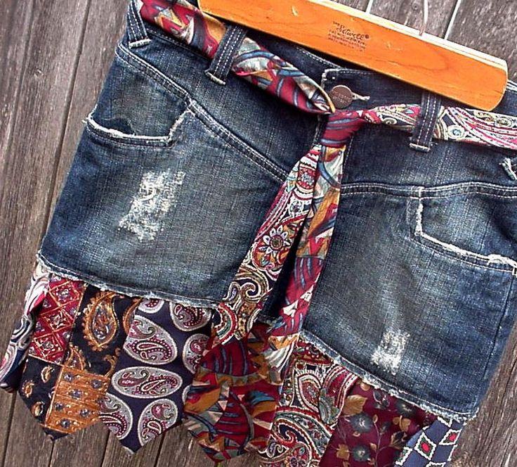 Denim Necktie Skirt Upcycled Silk Neck Tie Jean Skirt Eco Rustic Western Ranch Rodeo Cowgirl Skirt Original OOAK. $124.99, via Etsy.