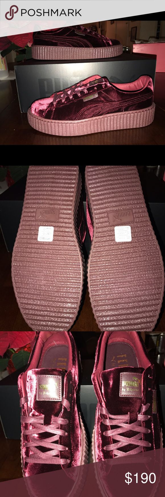 Rihanna Fenty Creepers velvet Burgundy Brand new never worn Puma Rihanna Creepers. Ordered for myself but company sent me the wrong size and the shoes are sold out :( Puma Shoes Sneakers