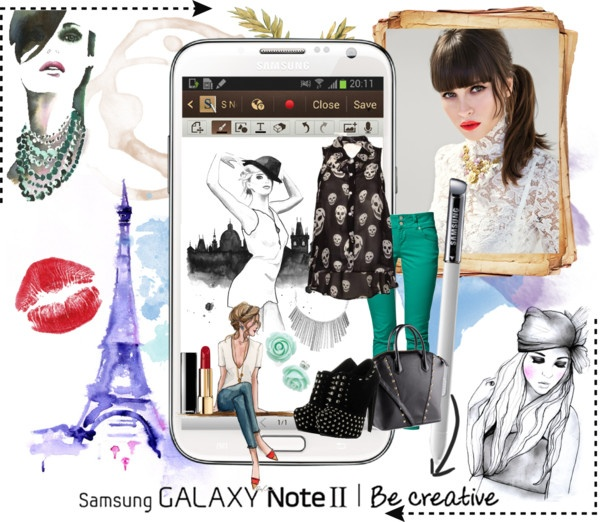 """""""Create a Downtown Muse look for a chance to win a Samsung GALAXY Note II!"""" by jadoreney ❤ liked on Polyvore"""