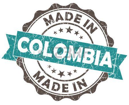 hecho en Colombia sello turquesa del grunge aisladas sobre fondo blanco photo