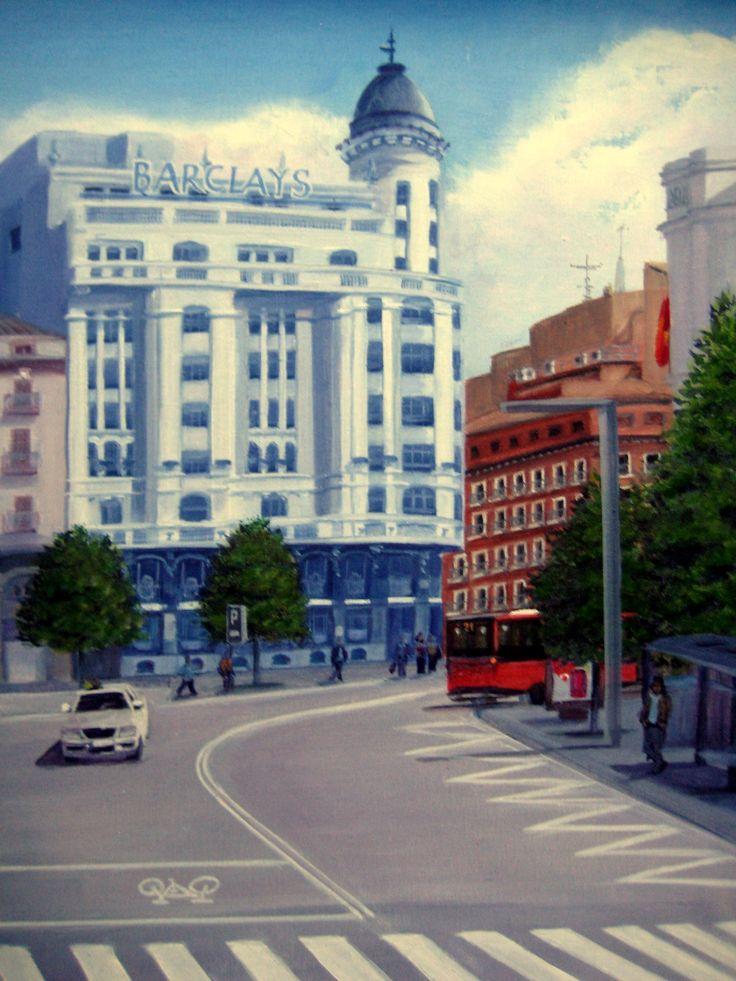 Óleo 33 x 46 de Javier Úcar - Tríptico Plaza de España - Zaragoza (Detalle dcha.)