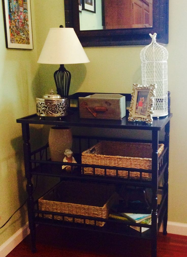 Up-cycled changing table. Perfect for office storage & display.  Love this inexpensive refurbish!
