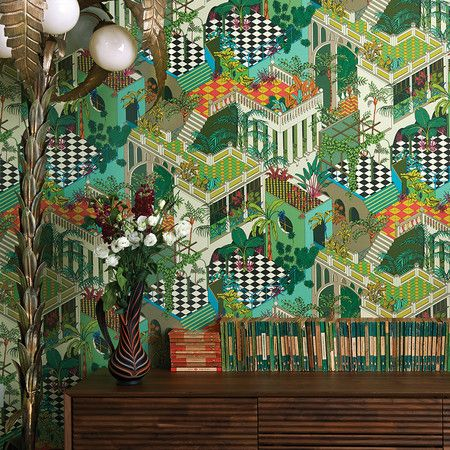 cole and sons wallpaper | Home Accessories Wallpaper Miami Wallpaper - Green & Coral - 105/4017