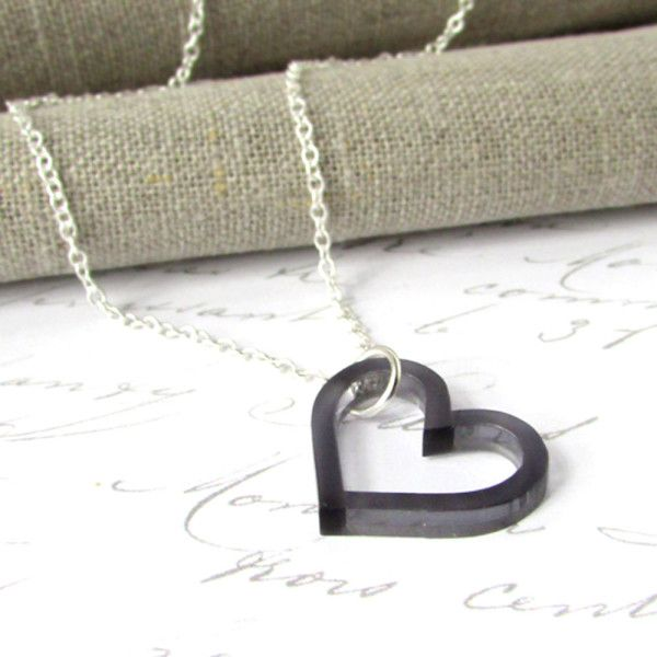 Love Necklace - sterling silver and slate grey laser cut acrylic. Handcrafted and supplied beautifully gift boxed. PERFECT GIFT IDEA!