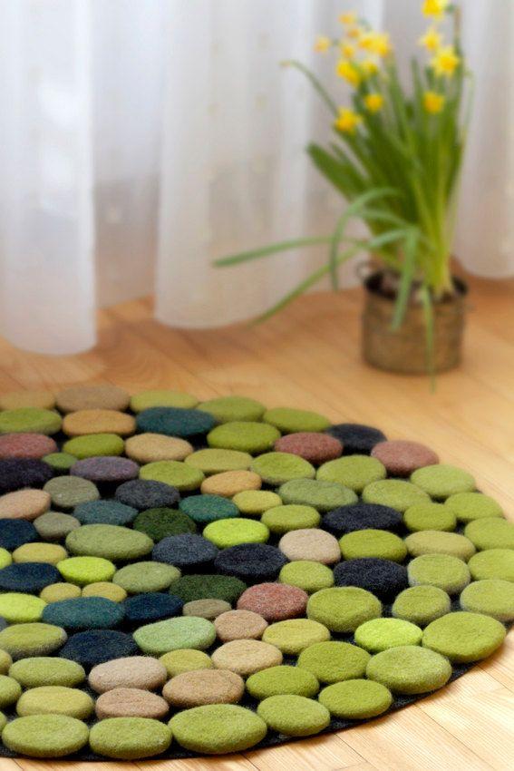 Hand made Wool Rug. Wool Felt Pebbles. Multi color. by DMpics