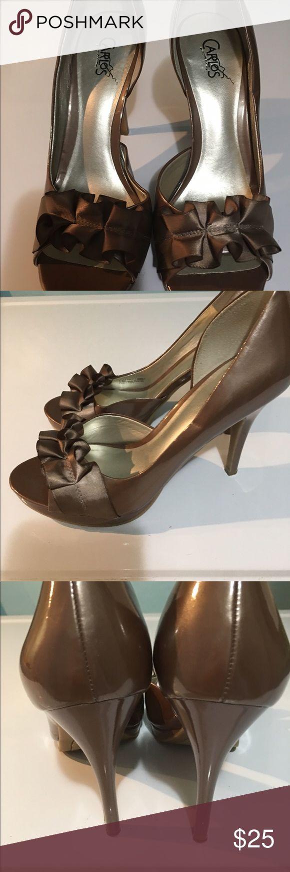 """Beautiful TALL heels that are Carlos Santana's These are beautiful!!!! Very high heels 5""""...beautiful neutral color. Carlos Santana Shoes Heels"""