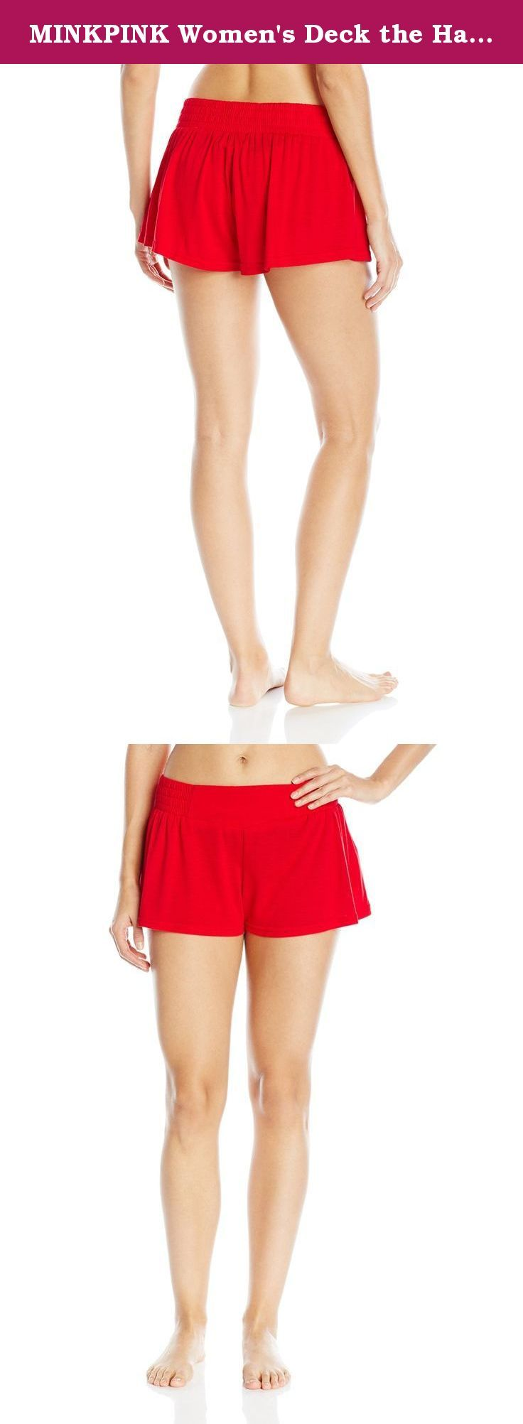 MINKPINK Women's Deck the Halls Shorts, Red, Medium. The deck the halls shorts solid red shorts with elastic waist band.
