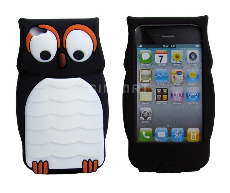 phone coversIphone Cases, Apples Iphone, Iphone 4S, Apple Iphone, Silicone Cases, Cartoons Silicone, Owls Design, 4S Black, Phones Cases