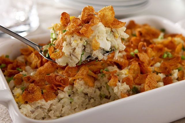 Your family's favorite chicken-and-rice dish just got a whole lot easier. The creamy sauce and crunchy topping make for a great weeknight casserole.
