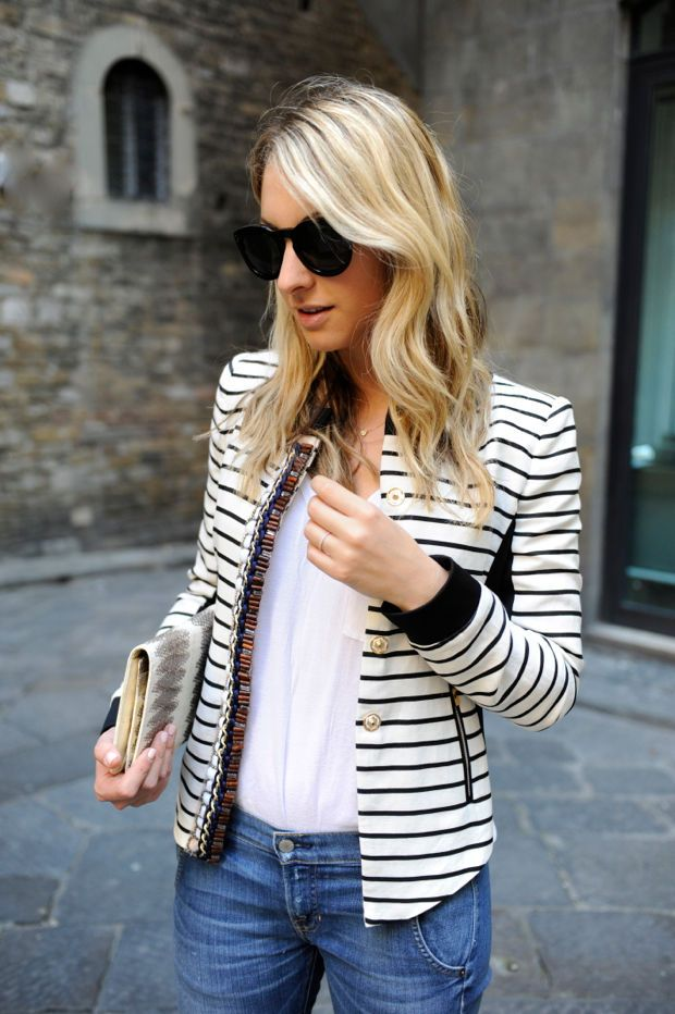 Emily Schuman from Cupcakes and Cashmere. Love everything about this, especially the stripe jacket with detail.