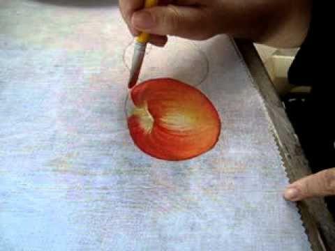 Pintura em tecido Eliane Nascimento: maçãs - Parte 1 - YouTube