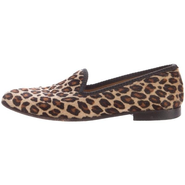 Pre-owned Del Toro Ponyhair Round-Toe Loafers (€83) ❤ liked on Polyvore featuring shoes, loafers, animal print, round toe loafers, leopard print loafers, leopard calf hair shoes, leopard calf hair loafers and loafers moccasins