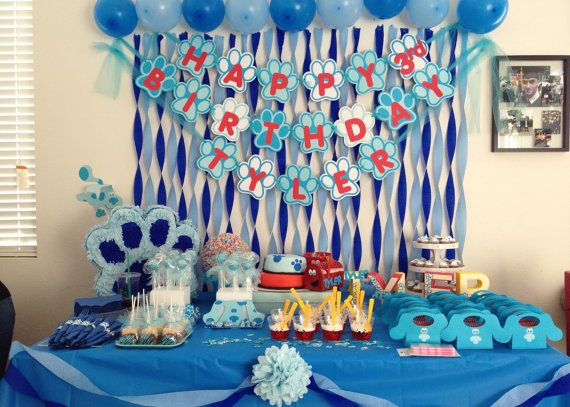 Blue's Clues Party  Check out this item in my Etsy shop https://www.etsy.com/listing/124615136/blues-clues-birthday-banner-personalized