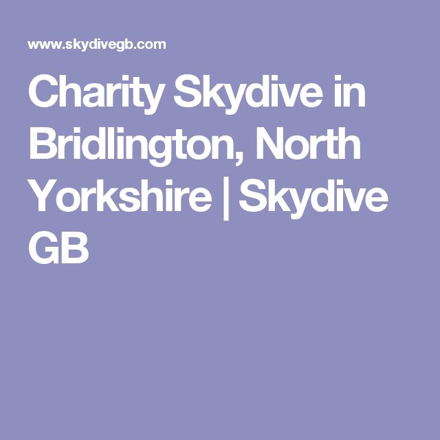 Charity Skydive in Bridlington, North Yorkshire | Skydive GB