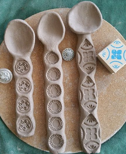 It's fun making wonky spoons. You can use all sorts of things to make the impressions on the clay, such as vintage buttons and wooden/rubber stamps…