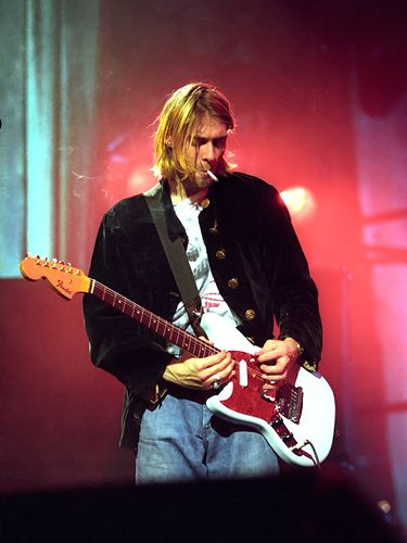 CLP -Kurt Cobain's 'Jag-Stang' - According to the late Nirvana frontman Kurt Cobain, he designed his own guitar by taking Polaroids of a Fender Jaguar and a Fender Mustang and cutting them to fit together. Fender began producing the guitar after Cobain's death, and Courtney Love gave her husband's powder blue prototype to R.E.M.'s Peter Buck.