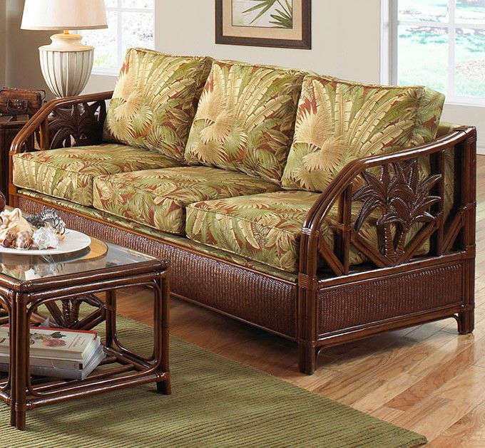 Cancun Palm Rattan and Wicker Indoor Queen Sleeper Sofa by Hospitality Rattan #HospitalityRattan #Tropical