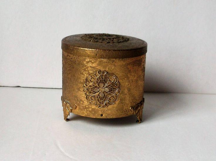 Ornate Goldtone Mirrored Trinket/ Music Box..Vintage Ring Box..Vintage Music Box..Round Shape..Tarnished Patina by NittyGrittyVintage on Etsy