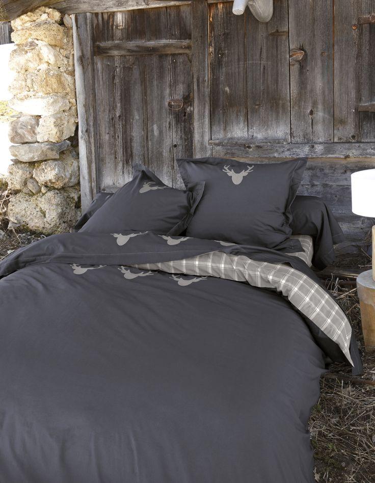 magnifique parures de lit et draps housse style montagne houselinen mountain order on. Black Bedroom Furniture Sets. Home Design Ideas