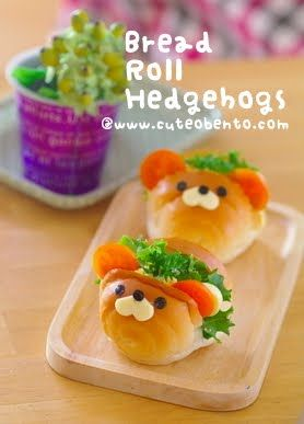 cuteobento: Bread Roll Hedgehogs.