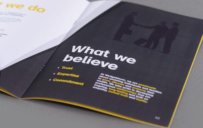 Wedgebloom brochure. Wedgebloom is an international wealth mentoring business.