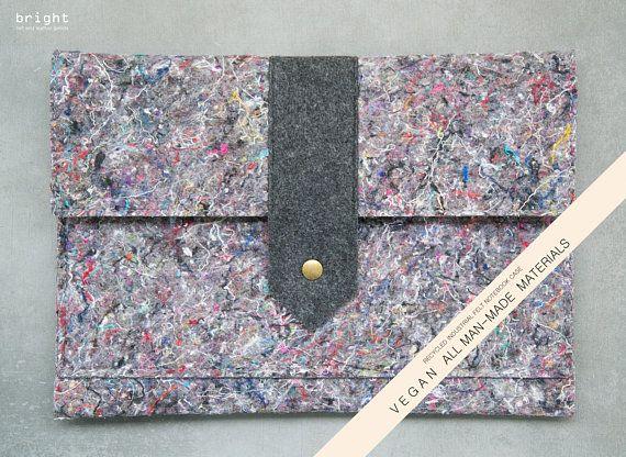 VEGAN Industrial RECYCLED Felt notebook case MACBOOK 12 .