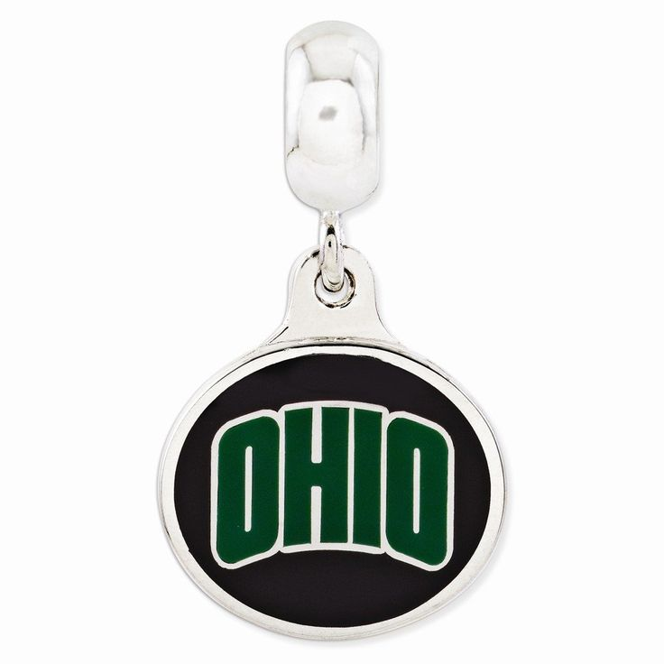 Sterling Silver Ohio University Collegiate Enameled Dangle Bead. Sterling Silver. White. Polished. 925.