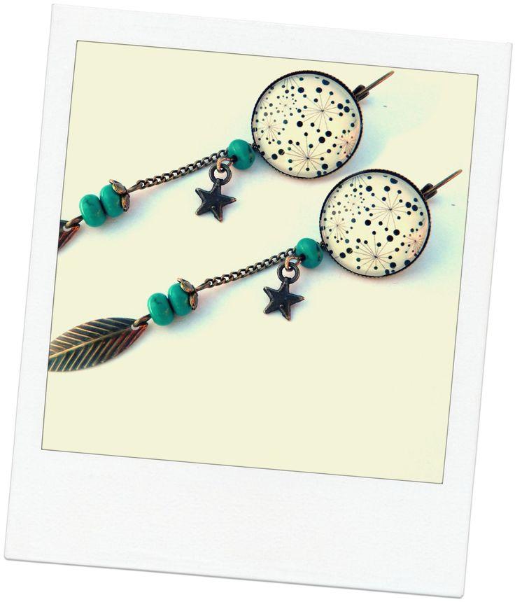 boucles d'oreilles vintages cabochon pendantes en turquoise naturelle 3a : Boucles d'oreille par mesbopetitsbijoux                                                                                                                                                                                 Plus
