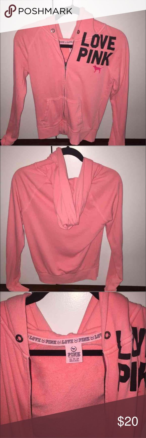 PINK Zip Up Hoodie Sweater Worn but in great condition.  From PINK Victoria's Secret Size XS women's PINK Victoria's Secret Sweaters