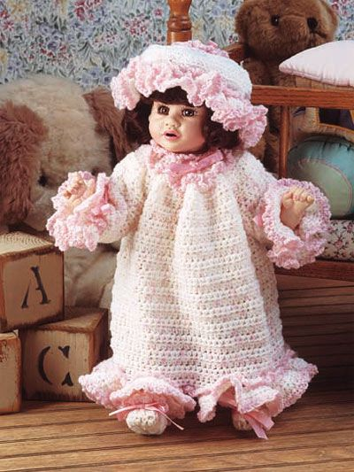 """Katina's Bedtime Set  Snuggly and warm in her nighty, this adorable playmate will be the perfect companion. Fits doll size: 16"""" Katina dollSkill level: Average  Designed by Carol Smith  Should be easy enough to enlarge for American girl doll.  free pdf from free-crochet.com"""