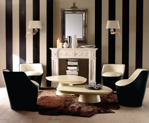 Stripes: Living Rooms Wall, Modern Living Rooms, White Living, Stripes Wall, Black And White, White Rooms, Black White, Strips, Wallpapers Design