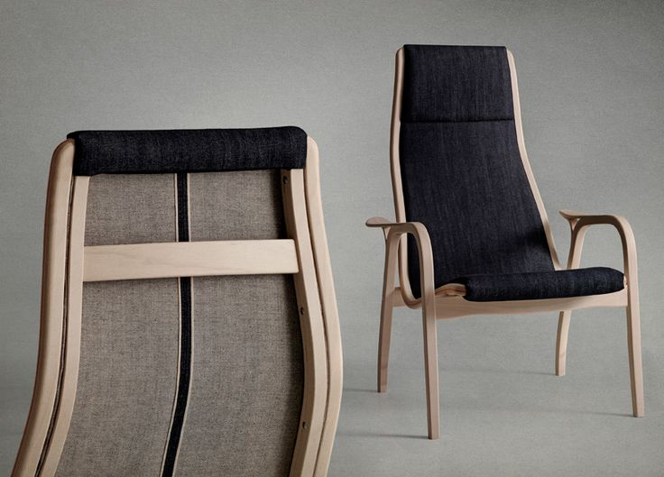 nudie jeans and swedese reinterpret lamino chair in denim - designboom   architecture