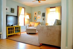 Eclectic Living Room with High ceiling, Crown molding, Carpet, Ceiling fan, Hardwood floors