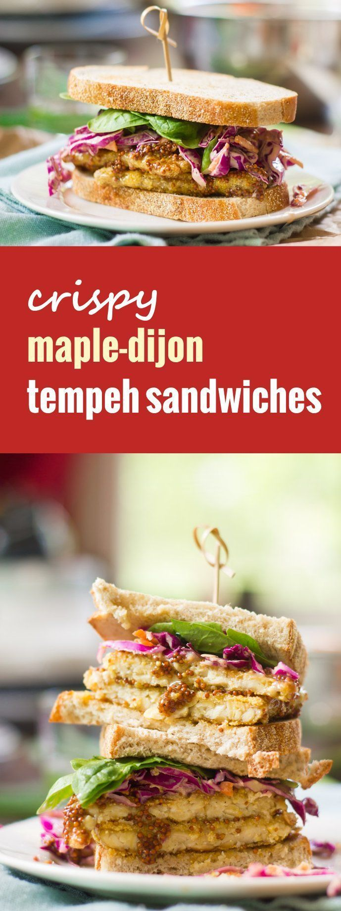 Crispy cornmeal crusted tempeh is drenched in sweet maple-Dijon sauce and stuffed into toasty bread with wasabi slaw to make these satisfying and scrumptious vegan tempeh sandwiches.