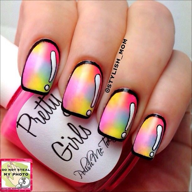 Cool rainbow cartoon nails! Also learn how to do this on YouTube on a channel called cutepolish. <----- Thanks @Goddess Asuna