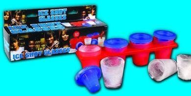 Ice Shot Glass Molds 4 Pc by GA. $4.68. Four perfect ice shot glass that are made out of ice. Just fill the mold with water and let it freeze and you have four perfect ice shot glass that are made out of ice. Great for barbeque's and party's. 4 ice shot glass mold.