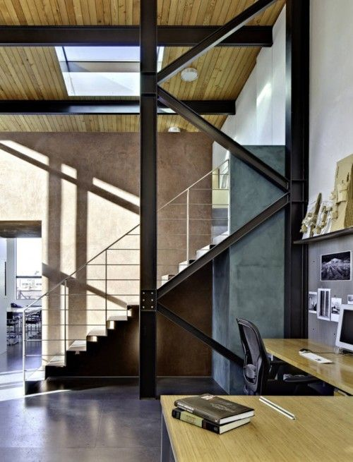 Steel industrial staircase via The Black Workshop