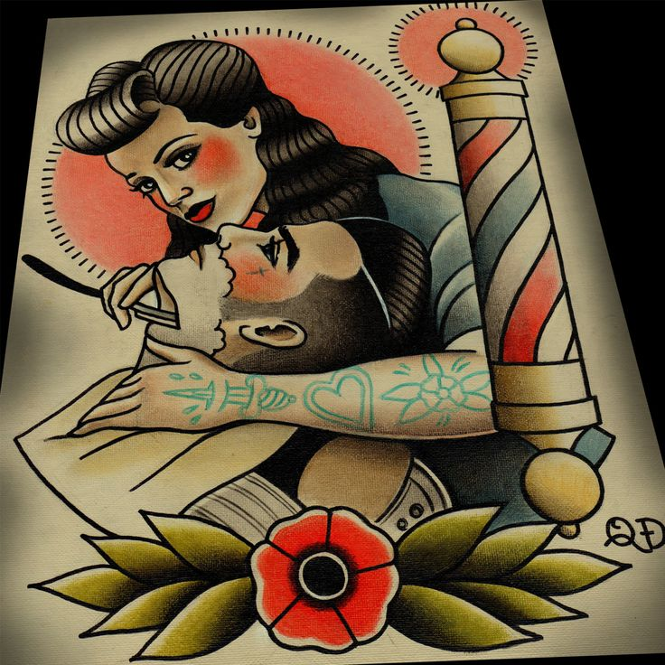 Rockbilly Barbering Tattoo Print by ParlorTattooPrints on Etsy, $28.00