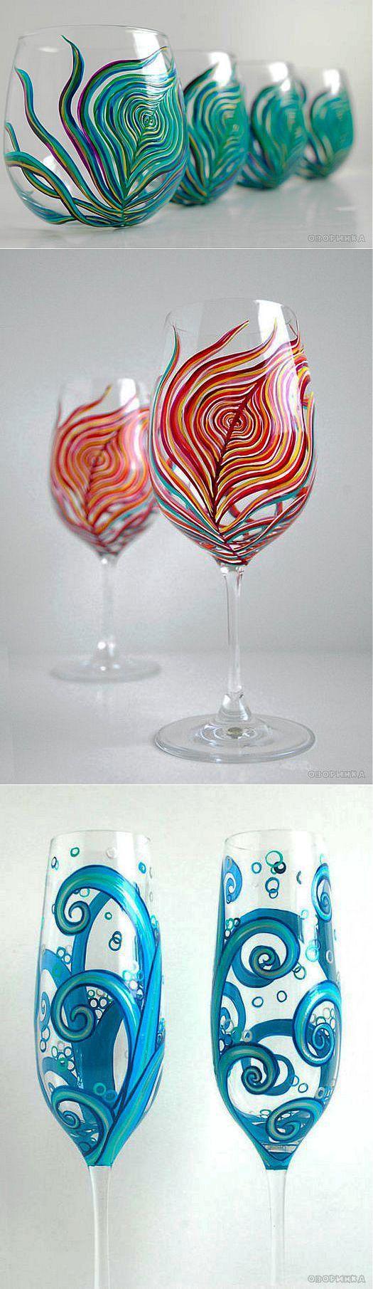 Поделки своими руками - Идеи для росписи посуды | Роспись по стеклу | Постила