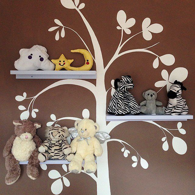 Tree-wallpaper shelves
