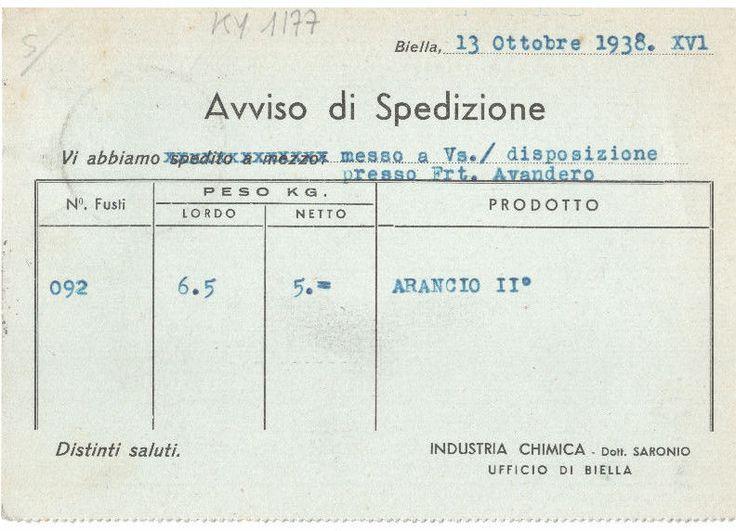 INDUSTRIA CHIMICA - Dott. SARONIO- MELEGNANO - LANIFICIO DI CHIAVAZZA - 1938