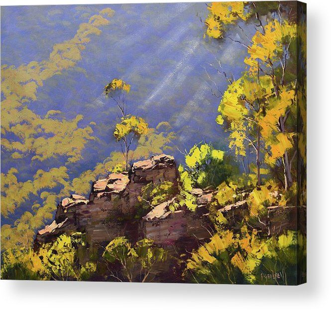 Above The Valley Acrylic Print By Graham Gercken With Images Large Landscape Painting Painting Australian Painting