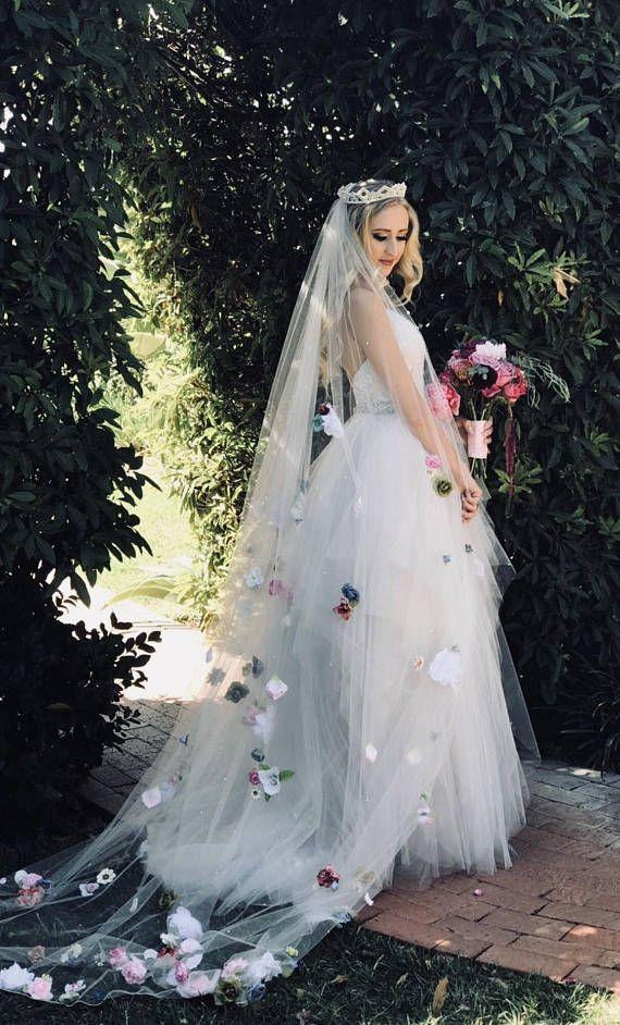 Custom Floral Cathedral Wedding Veil Flower Wedding Veil Custom