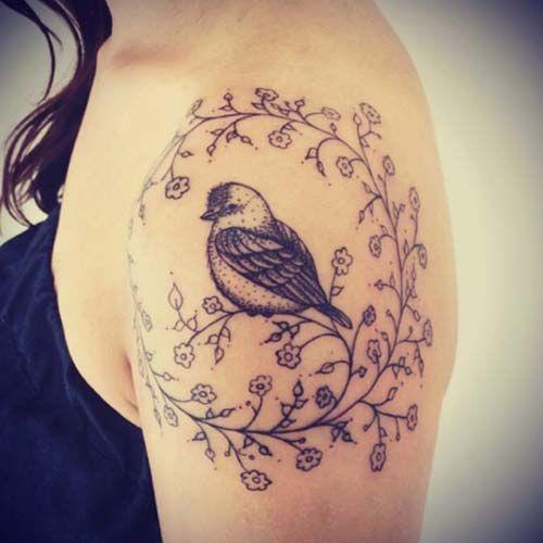 tek kuş kadın omuz dövmeleri single birg woman shoulder tattoos