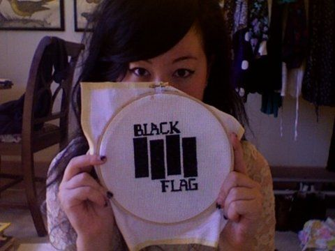 Black Flag Band Logo Needlepoint
