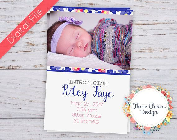 Purple Floral Printable Birth Announcement