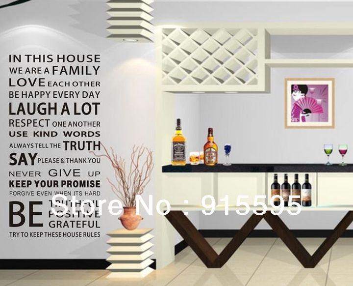 Aliexpress.com: Купить Бесплатная доставка : семейный дом правила виниловые наклейки на стены наклейки / мода водонепроницаемый декор искусства надписи / 60 * 120 см из Надежный наклейку бесплатно поставщиков на Melin Home Decor Co., Ltd